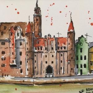 Gdansk, Akvarell, Festmény, Művészet, Festészet, Eredeti akvarell festmény a művésztől! Eredetigazolással!\nA festmény megvásárolható a képen látható ..., Meska