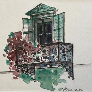 Balkon, Akvarell, Festmény, Művészet, Festészet, Eredeti akvarell festmény a művésztől! Eredetigazolással!\nA festmény megvásárolható a képen látható ..., Meska
