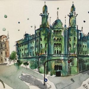 Párisi Udvar Hotel Budapest, Akvarell, Festmény, Művészet, Festészet, Eredeti akvarell festmény a művésztől! Eredetigazolással!\nA festmény megvásárolható a képen látható ..., Meska