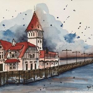 Club de Pescadores, Buenos Aires, Akvarell, Festmény, Művészet, Festészet, Eredeti akvarell festmény a művésztől! Eredetigazolással!\nA festmény megvásárolható a képen látható ..., Meska