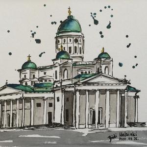 Helsinki, Akvarell, Festmény, Művészet, Festészet, Eredeti akvarell festmény a művésztől! Eredetigazolással!\nA festmény megvásárolható a képen látható ..., Meska