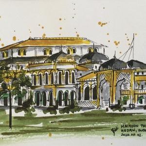 Maimoon Palace, Medan, Indonesia, Akvarell, Festmény, Művészet, Festészet, Eredeti akvarell festmény a művésztől! Eredetigazolással!\nA festmény megvásárolható a képen látható ..., Meska
