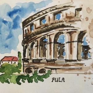 Pula, Művészet, Festmény, Akvarell, Festészet, Eredeti akvarell festmény a művésztől! Eredetigazolással!\nA festmény megvásárolható a képen látható ..., Meska