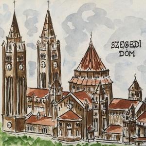 Dóm, Szeged, Művészet, Festmény, Akvarell, Festészet, Eredeti akvarell festmény a művésztől! Eredetigazolással!\nA festmény megvásárolható a képen látható ..., Meska