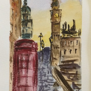 London, Művészet, Festmény, Akvarell, Festészet, Eredeti akvarell festmény a művésztől! Eredetigazolással!\nA festmény megvásárolható a képen látható ..., Meska