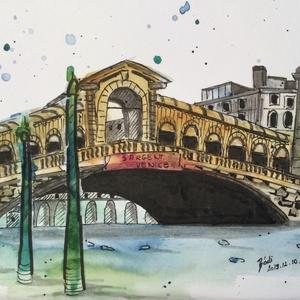 Rialto híd, Művészet, Festmény, Akvarell, Festészet, Meska