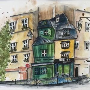 Odette Cafe, Paris, Akvarell, Festmény, Művészet, Festészet, Eredeti akvarell festmény a művésztől! Eredetigazolással!\nA festmény megvásárolható a képen látható ..., Meska
