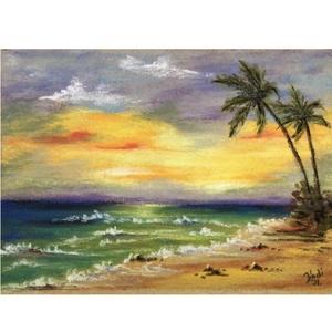 Pálmafás naplemente, Művészet, Festmény, Pasztell, Eredeti pasztell festmény a művésztől! Eredetigazolással! Szignózott! Kicsi, de csodálatos hangulatú..., Meska