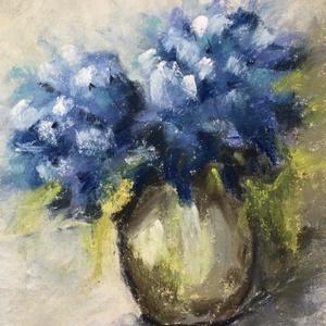 Hortenzia (Hydrangea), Művészet, Festmény, Akvarell, Eredeti impresszionista stílusú pasztell festmény a művésztől! Eredetigazolással! Szignóval! A festm..., Meska
