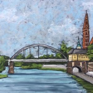 Napfényes Szeged, Művészet, Festmény, Pasztell, Eredeti pasztell festmény a művésztől! Eredetigazolással! A festmény megvásárolható a képen látható ..., Meska