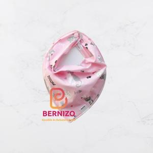 Rózsaszín cicás nyálkendő/babakendő, Gyerek & játék, Baba-mama kellék, Varrás, Háromszög, alakú pamut kendő, patenttal végződik.   Akár előkének, akár nyálkendőnek, vagy csak sim..., Meska