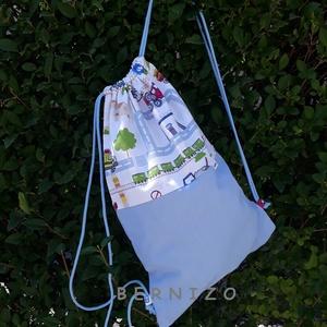 Világoskék-fehér autós tornazsák , Ovis zsák, Ovis zsák & Ovis szett, Játék & Gyerek, Varrás, Egy vagány ovis hátizsákot ajánlok.\nMintás és egyszínű pamutvászonból készült ez a praktikus hátizsá..., Meska