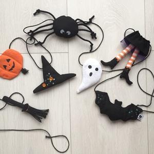 Halloween girland, Függődísz, Dekoráció, Otthon & Lakás, Varrás, Kézzel készült halloween dekorációs füzér. A 7 figura és a zsinór 100% pamutból készült, textilfesté..., Meska