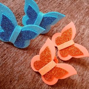 Kék-narancs pillangós hajgumi szett, Ékszer, Gyerek & játék, Baba-mama kellék, Mindenmás, Pillangós hajgumi szettet kínálok. Összesen 4 darab van egy szettben. Dekorgumiból készültek. A deko..., Meska