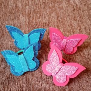 Kék-rózsaszín hajgumi szett, Gyerek & játék, Baba-mama kellék, Ékszer, Mindenmás, Pillangós hajgumi szettet kínálok. Összesen 4 darab van egy szettben. Dekorgumiból készültek. A deko..., Meska