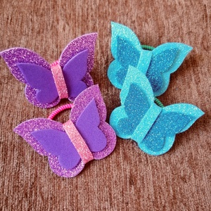 Lila-kék pillangós hajgumi szett, Ékszer, Gyerek & játék, Baba-mama kellék, Mindenmás, Pillangós hajgumi szettet kínálok. Összesen 4 darab van egy szettben. Dekorgumiból készültek. A deko..., Meska