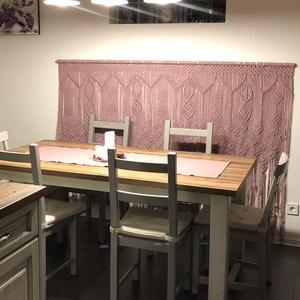 Makramé Falvédő, Otthon & Lakás, Lakástextil, Falvédő, Makramé technikával készült makramé fali szőnyeg. Dasty-pink színű. Kellemes színkombináció  pl. hal..., Meska