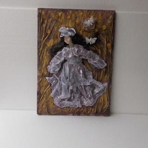 kép, falikép, lila kép, pillangós kép, lila ruhás hölgy, textilkép, dekoráció, lakberendezés, otthon,  (Beszter58) - Meska.hu