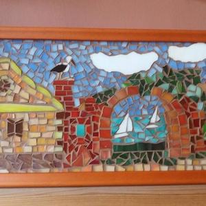 Üvegmozaik kép, Lakberendezés, Otthon & lakás, Dekoráció, Kép, Falikép, Mozaik, Többféle színű Sprektum üveg felhasználásával készített  mozaik kép.. A  mozaikok között nugát színű..., Meska