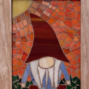 Mozaikos manó kép, Otthon & Lakás, Dekoráció, Dísztárgy, Mozaik, Spektrum üvegből készítettem ezt a képet, amely igény szerint álló és faliképként is funkcionál és e..., Meska