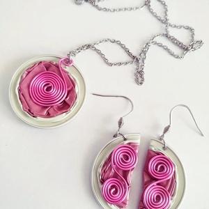 Pink Csigák kapszula ékszerszett - VadVirág Kolekció, Ékszer, Ékszerszett, Újrahasznosított alapanyagból készült termékek, Ékszerkészítés, Meska