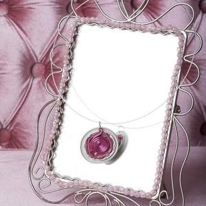 Pink Csigák kapszula nyaklánc - VadVirág Kolekció, Ékszer, Medálos nyaklánc, Nyaklánc, Újrahasznosított alapanyagból készült termékek, Ékszerkészítés, Meska