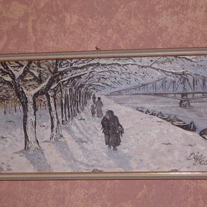 Duna-part hóesésben, Olajfestmény, Festmény, Művészet, Festészet, Amator Artium kiállításra készült s bezsűrizett olajfestmény századfordulós hangulatban.\nKerettel eg..., Meska
