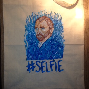 Van Gogh selfis tatyó, Otthon & lakás, Táska, Divat & Szépség, Képzőművészet, Textil, Táska, Szatyor, Vicces ötleteket kedvelőknek és főleg Van Gogh rajongóknak ajánlom :-)  Lenvászon tatyóra festettem ..., Meska