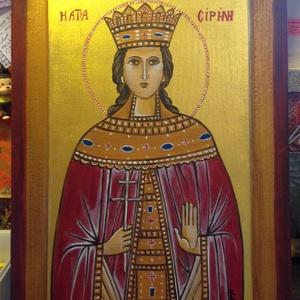 Szent Piroska ikon, Otthon & lakás, Dekoráció, Képzőművészet, Festmény, Akril, 40x28 cm-es fa alapra festettem akrillal ezt az ikont,amit a végén selyem színű lakkal kezeltem le...., Meska