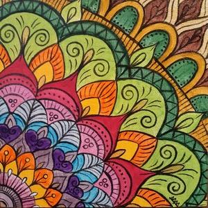 Mandala /akril festmény, Dekoráció, Otthon & lakás, Képzőművészet, Festmény, Akril, Festészet, Ezt a szép mandalát préselt lemezre kasírozott, alapazott festővászonra festettem akrillal.A végén s..., Meska