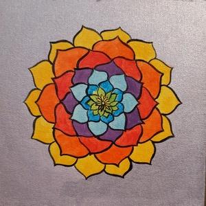 Mandala/akril festmény, Képzőművészet, Otthon & lakás, Festmény, Akril, Lakberendezés, Festészet, Ezt a szép mandalát préselt lemezre kasírozott, alapazott festővászonra festettem akrillal.A végén s..., Meska
