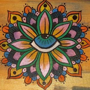 Kis akril Mandala festmény, Képzőművészet, Otthon & lakás, Festmény, Akril, Lakberendezés, Festészet, Ezt a szép mandalát vastag kartonra kasírozott, alapazott festővászonra festettem akrillal.A végén s..., Meska