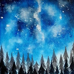 Éjjeli fenyves/akril festmény, Képzőművészet, Otthon & lakás, Festmény, Akril, Lakberendezés, Festészet, Ezt a szép festményt vastag kartonra kasíroztam, amit alapazott festővászonra festettem akrillal.A v..., Meska