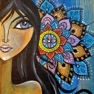 Lány Mandalával/akril festmény, Képzőművészet, Otthon & lakás, Festmény, Akril, Lakberendezés, Festészet, Ezt a szép mandalás festményt vastag kartonra kasíroztam,és alapazott festővászonra festettem akrill..., Meska