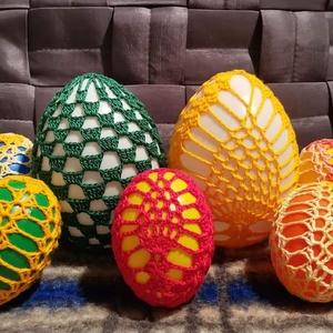 Húsvéti horgolt tojás , Otthon & Lakás, Dekoráció, Dísztárgy, Horgolás, Színes műanyag tojás behorgolva. , Meska