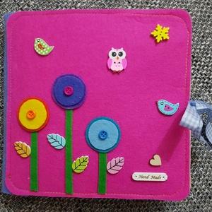 Okoskönyv kislányoknak, Játék & Gyerek, Textilkönyv & Babakönyv, Egyedi, saját tervezésű okoskönyv 5-7 éves kislánynak. 1.Rakd sorrendbe a virágszirmok számait! 2. K..., Meska