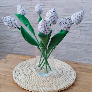 Egyedi mintás textil tulipán csokor, Otthon & Lakás, Dekoráció, Asztaldísz, Saját kép, céges logó alapján készítem el neked a csokrodat, így igazán egyedivé válik. 45 cm magas ..., Meska
