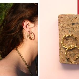 sárgaréz csavart karika fülbevaló, Ékszer, Fülbevaló, Karika fülbevaló, Ékszerkészítés, Ötvös, sárgaréz fülbevaló\n\ncopper earring\n\nméret: kb. 4 cm, Meska