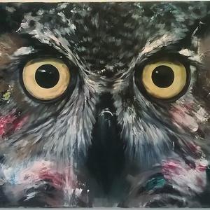 Bagoly , Otthon & lakás, Képzőművészet, Festmény, Akril, Festészet, A festményt én alkottam. Sajnos a mobilommal nem tudtam jobb minőségű képet készíteni róla. Személye..., Meska