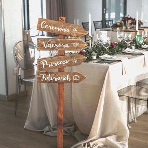 Iránymutató nyilak, Tábla & Jelzés, Dekoráció, Esküvő, Famegmunkálás, Festett tárgyak, Esküvődön szükséged lenne valamire, amivel tudod a vendégeknek jelezni a ceremónia, vacsora vagy par..., Meska