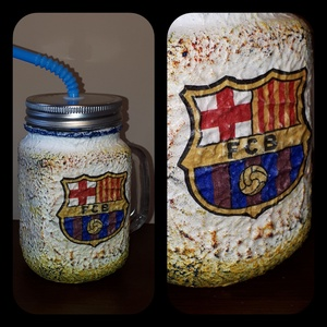 Fc Barcelona foci rajongói sörös korsó vagy szívószálas üveg kettő az egyben, Dísztárgy, Dekoráció, Otthon & Lakás, Decoupage, transzfer és szalvétatechnika, Fc Barcelona foci rajongói sörös korsó vagy szívószálas üveg kettő az egyben\n\nFoci rajongó a család ..., Meska