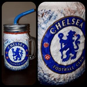 Chelsea foci rajongói sörös korsó vagy szívószálas üveg kettő az egyben, Férfiaknak, Focirajongóknak, Sör, bor, pálinka, Decoupage, transzfer és szalvétatechnika, Chelsea foci rajongói sörös korsó vagy szívószálas üveg kettő az egyben\n\nFoci rajongó a család apraj..., Meska