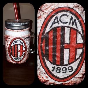 AC Milan foci rajongói sörös korsó vagy szívószálas üveg kettő az egyben, Dísztárgy, Dekoráció, Otthon & Lakás, Decoupage, transzfer és szalvétatechnika, AC Milan  foci rajongói sörös korsó vagy szívószálas üveg kettő az egyben\n\nFoci rajongó a család apr..., Meska