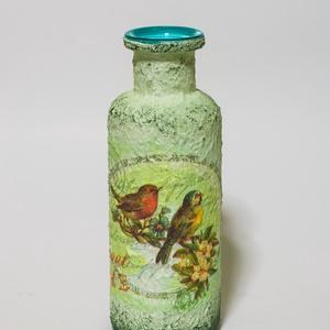 Édes otthon madaras, virágos, pillangós sötétben fluoreszkáló üveg váza ajándék nőnapra, anyák napjára.  , Otthon & Lakás, Váza, Dekoráció, Édes otthon madaras, virágos, pillangós sötétben fluoreszkáló üveg váza.   Különlegessége hogy éjjel..., Meska