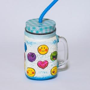 Emoji ikonos szívószálas üdítős üveg ajándék gyermeknapra, névnapra, szülinapi partira - otthon & lakás - konyhafelszerelés - pohár - Meska.hu