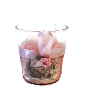 Vörös rózsa mintás romantika gyertya üveg gyertyatartóban.   (Biborvarazs) - Meska.hu