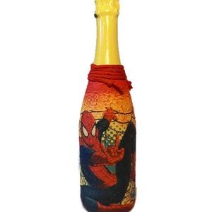 Pókember gyermek pezsgő ajándék gyermeknapra, szülinapra, névnapra, Otthon & Lakás, Díszüveg, Dekoráció, Pókember gyermek pezsgő ajándék gyermeknapra, szülinapra. Egyedileg feliratozható!   A felhasználást..., Meska