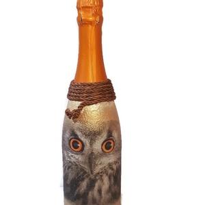 Bagoly  gyermek pezsgő ajándék gyermeknapra, szülinapra, névnapra, ballagásra, Otthon & Lakás, Díszüveg, Dekoráció, Bagoly gyermek pezsgő ajándék gyermeknapra, szülinapra, ballagásra. Egyedileg feliratozható!   A fel..., Meska