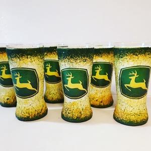 John Deere traktor díszüveg röviditalos poharakkal traktort kedvelőknek szülinapra, névnapra (Biborvarazs) - Meska.hu