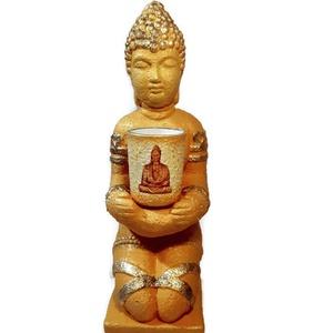 Arany Buddha szobor levehető üveg teamécsessel 2 az 1-ben spirituális ajándék  , Gyertya & Gyertyatartó, Dekoráció, Otthon & Lakás, Decoupage, transzfer és szalvétatechnika, Arany Buddha szobor levehető üveg teamécsessel 2 az 1-ben spirituális ajándék. \n\nAnyaga: gipsz\nMéret..., Meska